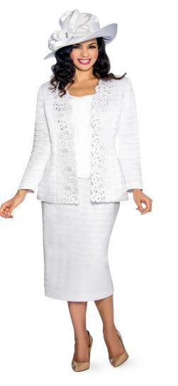 white skirt suit with pink heels and church hat