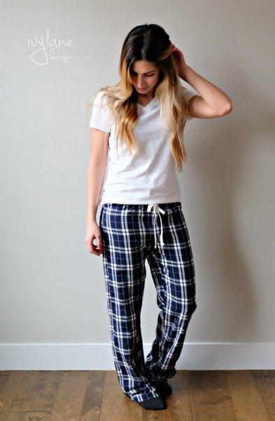 white t shirt with black plaid pajama pants