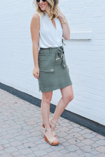 white tank top with grey cargo high rise mini skirt