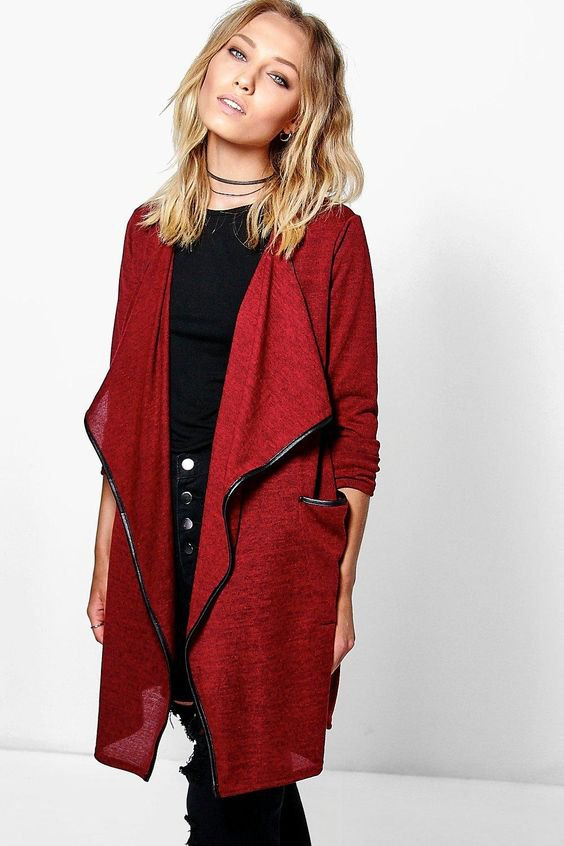 best long red cardigan outfit ideas for ladies