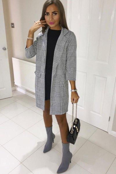 black and white checkered long blazer with mini shift dress