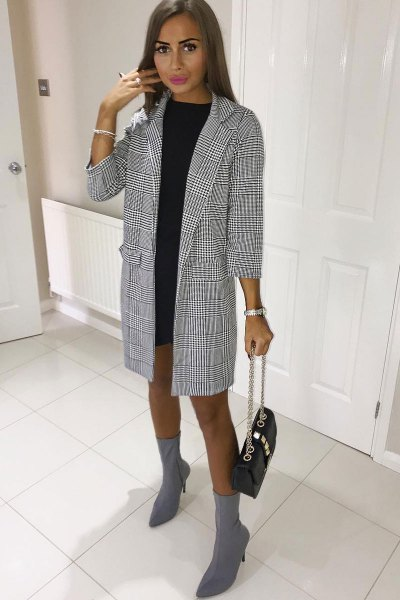 black and white checkered long blazer with mini shift dress