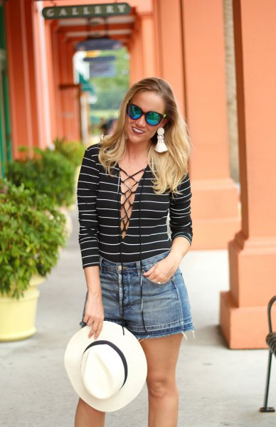 black and white striped lace up neckline long sleeve tee with mini shorts