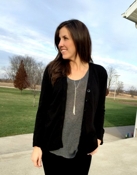 black cardigan with grey scoop neck tee and boho style necklace
