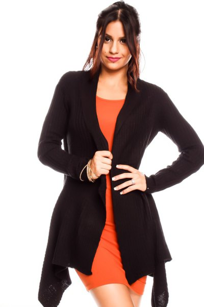 black cardigan with orange mini shift dress
