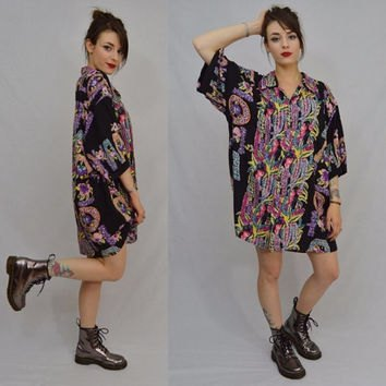 black floral printed aloha shirt dress with ankle boots