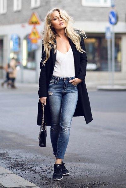 black longline blazer with black deep v neck ribbed sweater