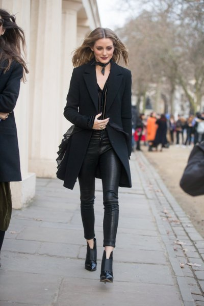 black longline blazer with leather leggings and ankle boots