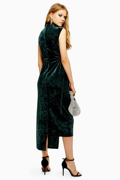 black mock neck sheath dress with open toe heels