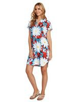 blue and red floral printed mini short sleeve luau dress