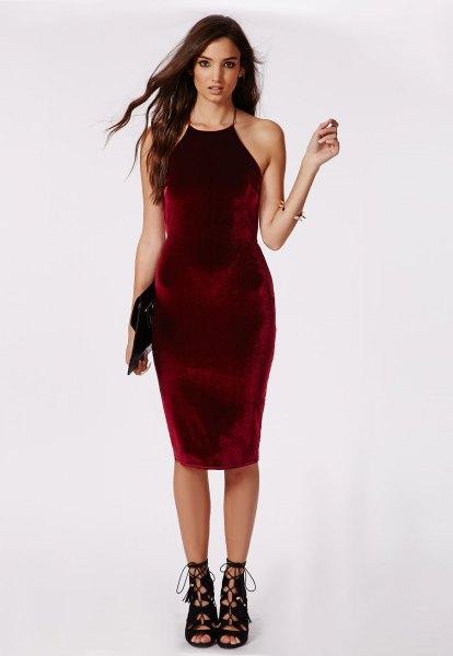 burgundy midi halter velvet dress with cutout open toe boots