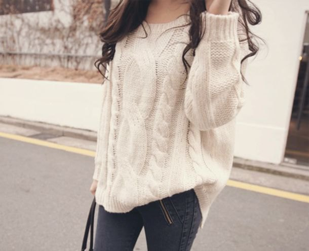 cable knit chunky sweater with grey skinny jeans