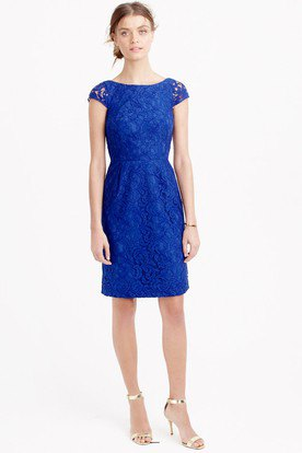 cap sleeve royal blue gathered waist knee length dress with silver heels