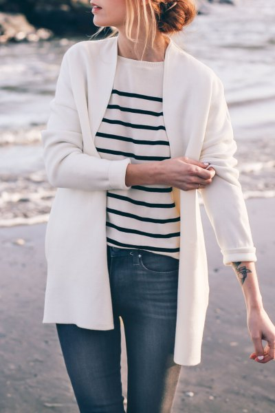 cardigan with white and black striped knit sweater