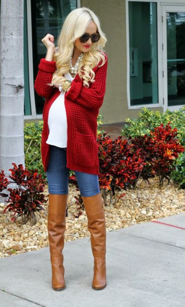 chunky cardigan sweater with white tee and thigh high brown leather boots