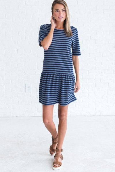 dark and light blue striped t shirt dress with brown sandals