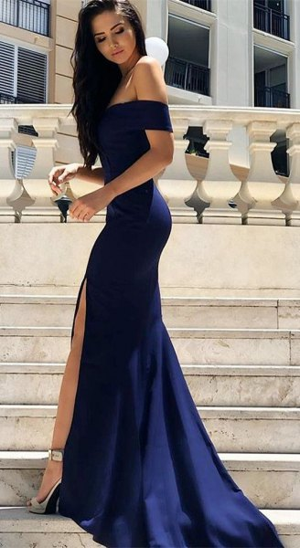 dark blue off the shoulder maxi formal dress with silver open toe heels
