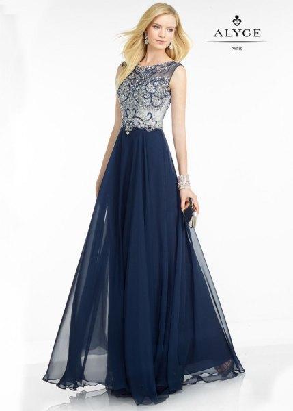 dark navy blue and silver sleeveless floor length chiffon flared dress