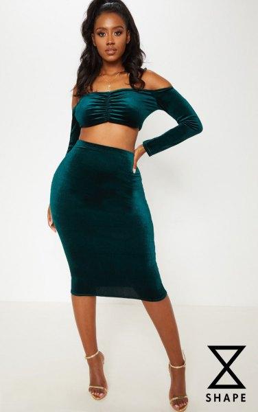 dark navy blue off the shoulder midi two piece dress