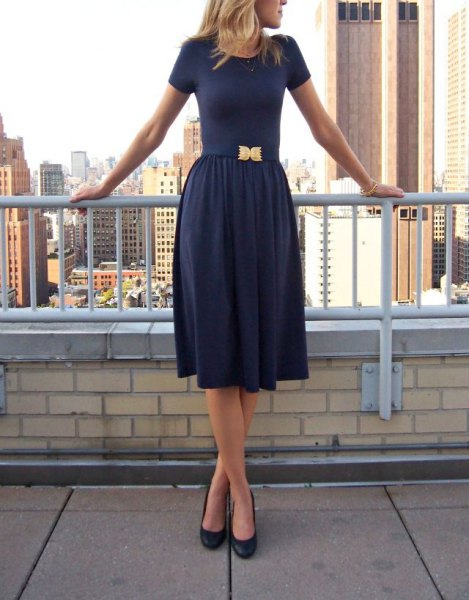 fit and flare navy blue midi dress with rounded toe heels