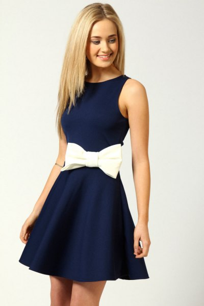 fit and flare ribbon waist navy blue short dress