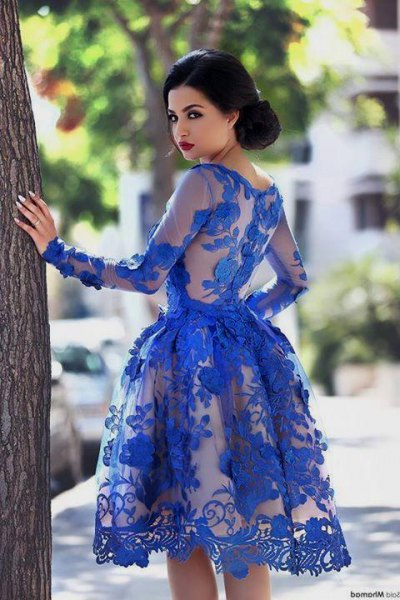 fit and flare royal blue knee length semi sheer lace dress