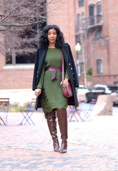 green midi belted sweater dress with black longline wool coat