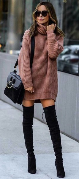 green ribbed sweater dress with black suede thigh high boots