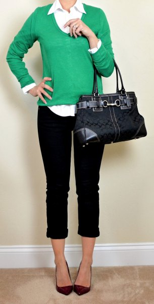 green scoop neck sweater with white button up shirt