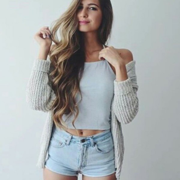 grey ribbed cardigan with white crop top and light blue jean shorts