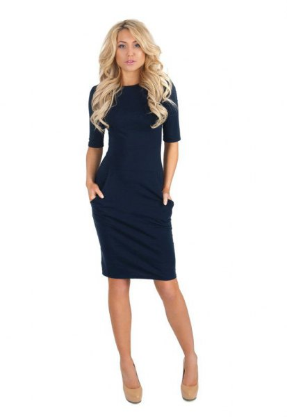 half sleeve bodycon dark blue dress with pale pink rounded toe heels