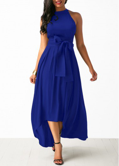 halter fit and flare maxi tie waist maxi dress with open toe heels