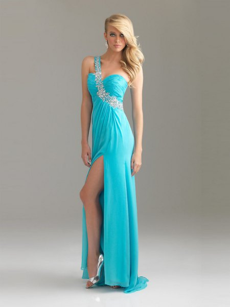 light blue one strap sweetheart neckline maxi prom dress