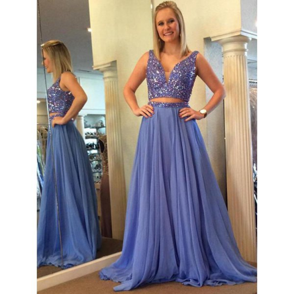 light blue two piece chiffon floor length pleated prom dress