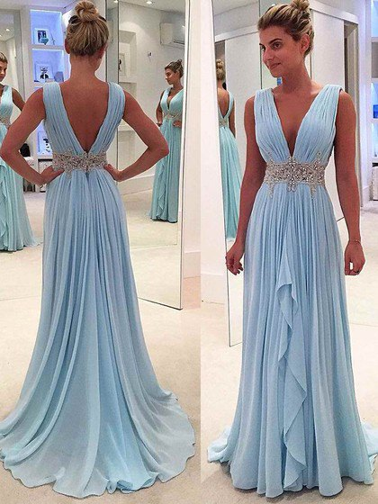 light sky blue sleeveless deep v neck pleated maxi formal dress