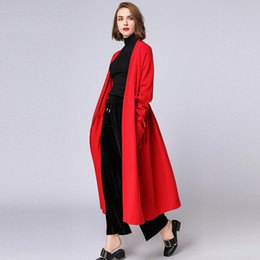 maxi long red cardigan with black wide leg pants