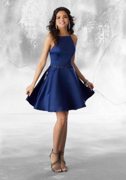 midnight blue halter mini skater silk dress with open toe heels
