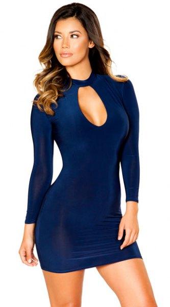 navy blue long sleeve short cutout front dress