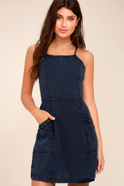 navy blue square neckline sheath short dress