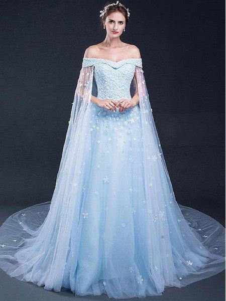 off the shoulder flowy chiffon light blue dress