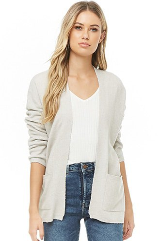 off white cardigan with v neck tee and blue jeans