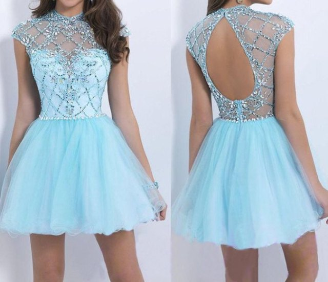 open back mini fit and flare light blue and silver dress