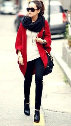 oversized cardigan with black infinity scarf and off white top