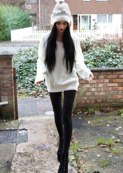 oversized sweater with white knit hat and leggings