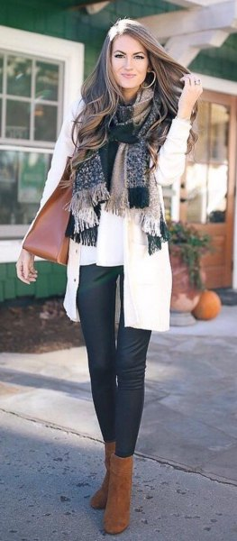 plaid fringe scarf with white blouse and cardigan