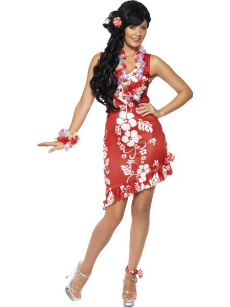 red and white ruffle hem sleeveless mini aloha dress with silver heels