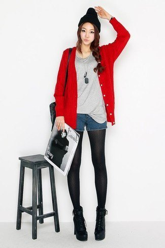 red cardigan with grey t shirt and mini blue denim shorts