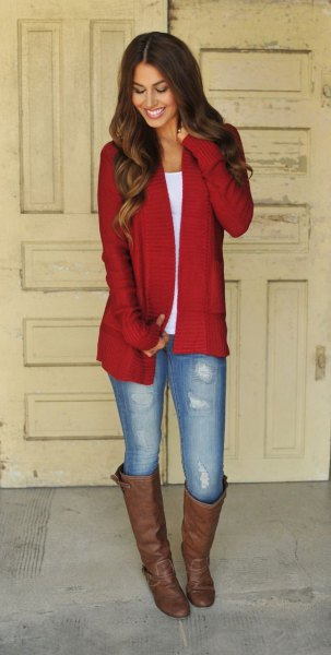 red longline cardigan with white scoop neck tee and brown knee high boots