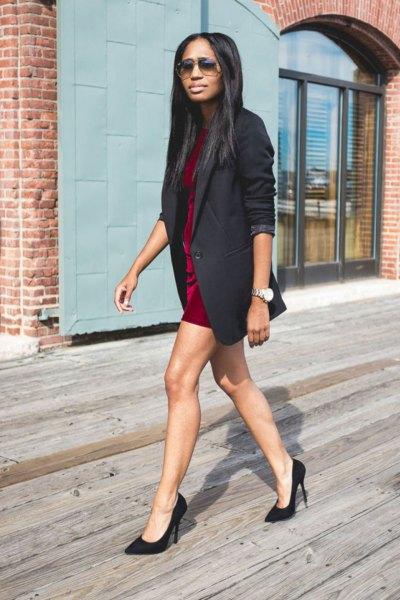 red silk mini shift dress with longline jacket