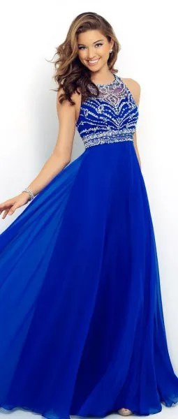 royal blue and silver sequin fit and flare halter gown